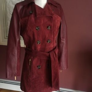 IMAN leather/suede belted trench NWOT sz XS